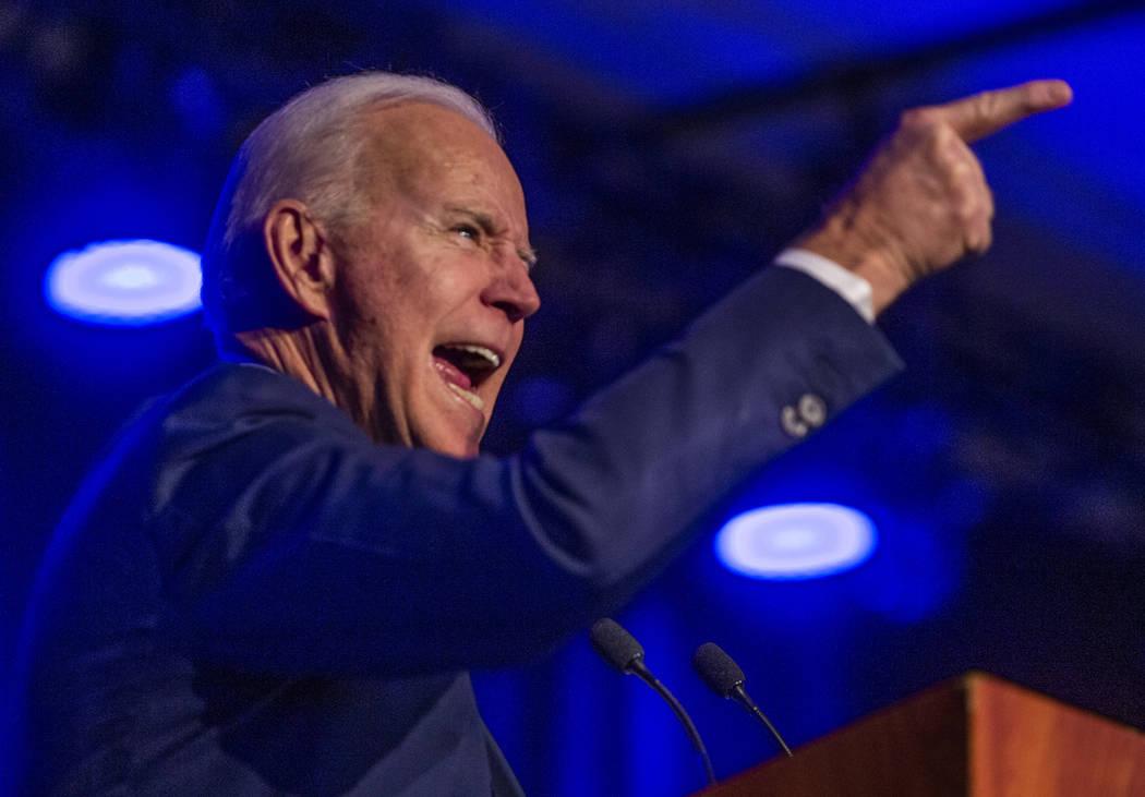 Former Vice President Joe Biden talks about the deregulation of gun manufacturers during the Cl ...