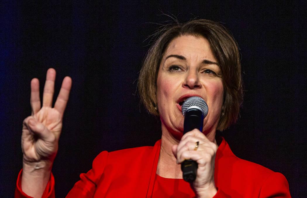 Sen. Amy Klobuchar, D-Minn.,talks about her past election wins during the Clark County Democrat ...