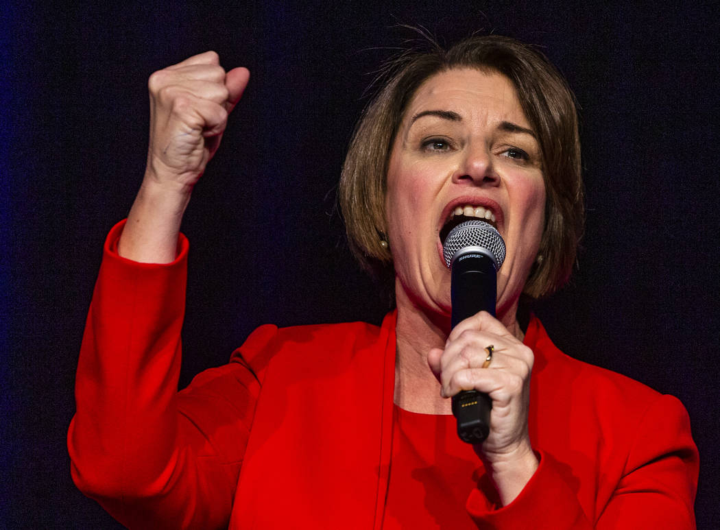 Sen. Amy Klobuchar, D-Minn.,talks about her drive to succeed during the Clark County Democrats ...