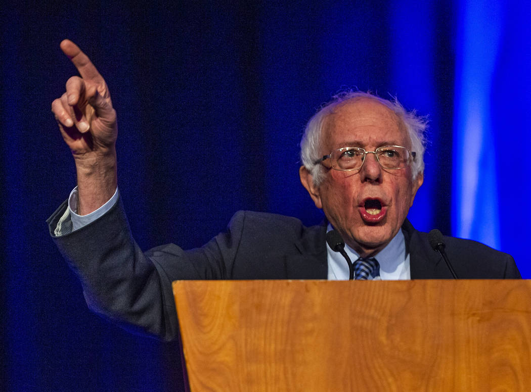 Sen. Bernie Sanders, I-Vt., speaks about the upcoming election during the Clark County Democrat ...