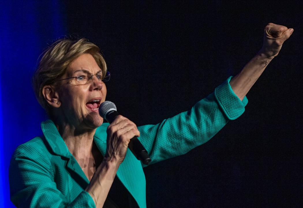 Sen. Elizabeth Warren, D-Mass., speaks on voting power during the Clark County Democrats Kick O ...