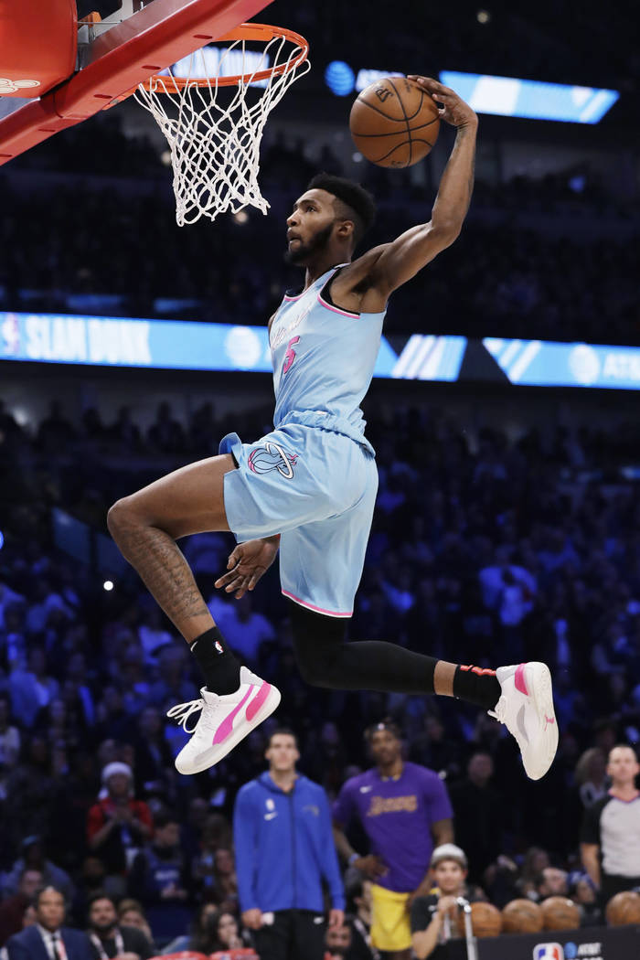 Miami Heat's Derrick Jones Jr. heads to the hoop during the NBA All-Star slam dunk contest in C ...