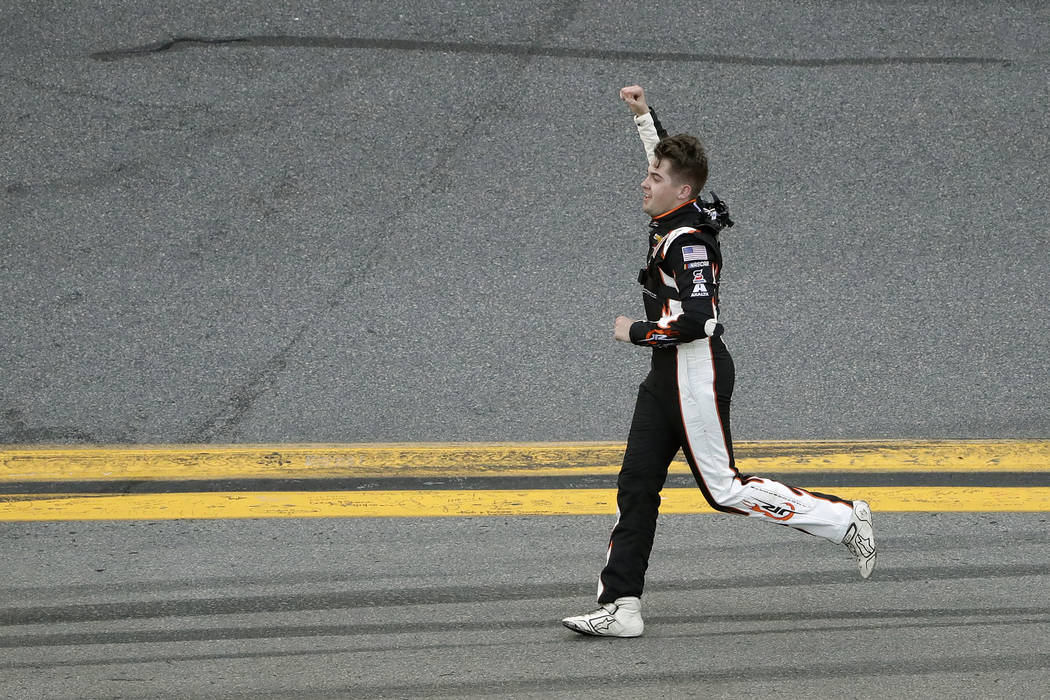 Noah Gragson celebrates his win in the NASCAR Xfinity series auto race Saturday, Feb. 15, 2020, ...