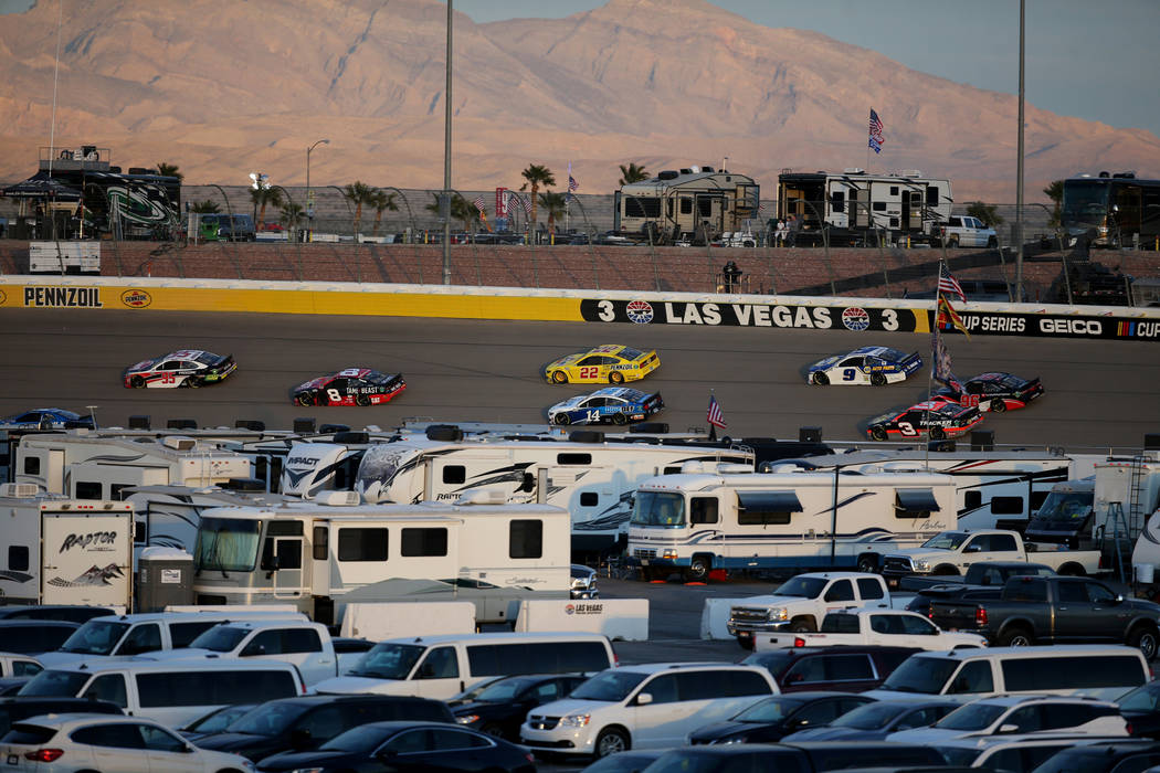 NASCAR Cup Series driver Joey Logano (22) and others practice for SundayÕs Pennzoil 400 at Las ...