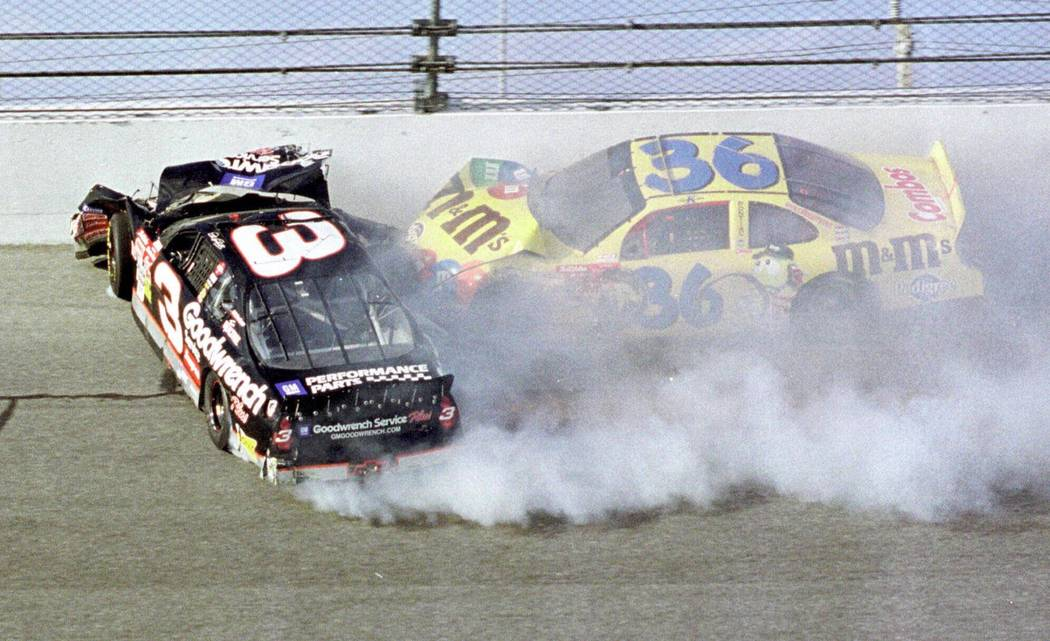 ADVANCE FOR WEEKEND EDITIONS DEC. 29-30--FILE--Dale Earnhardt (3) hits the wall while he gettin ...