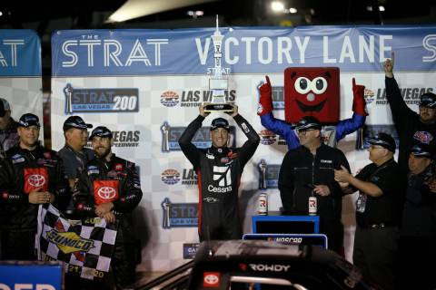 Kyle Busch celebrates winning the Strat 200 NASCAR Truck Series race at Las Vegas Motor Speedwa ...