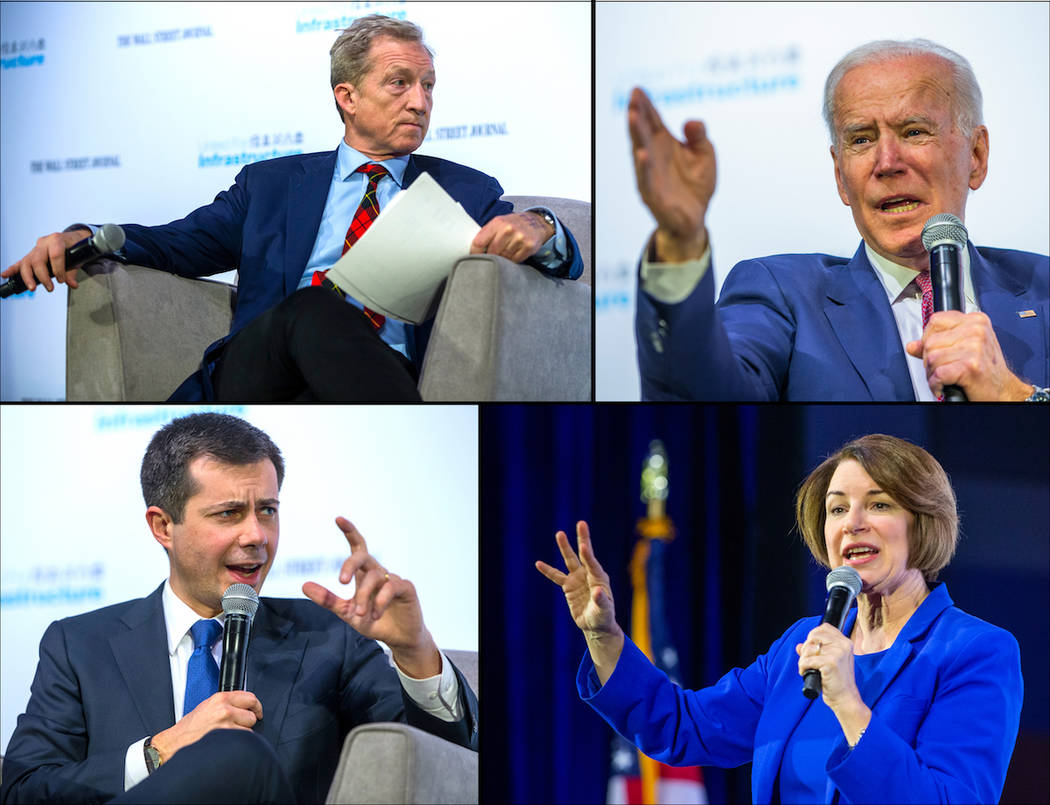(Clockwise from up left) Democratic Presidential candidates Businessman Tom Steyer, Former Vice ...