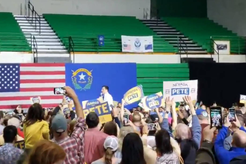 Former South Bend, Indiana, Mayor Pete Buttigieg speaks to supporters inside a gym at Rancho Hi ...