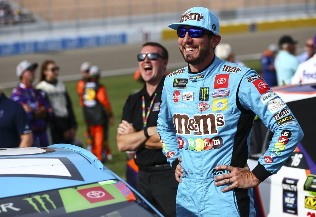 Kyle Busch prepares for a NASCAR Cup Series auto race at Las Vegas Motor Speedway, Sunday, Sept ...