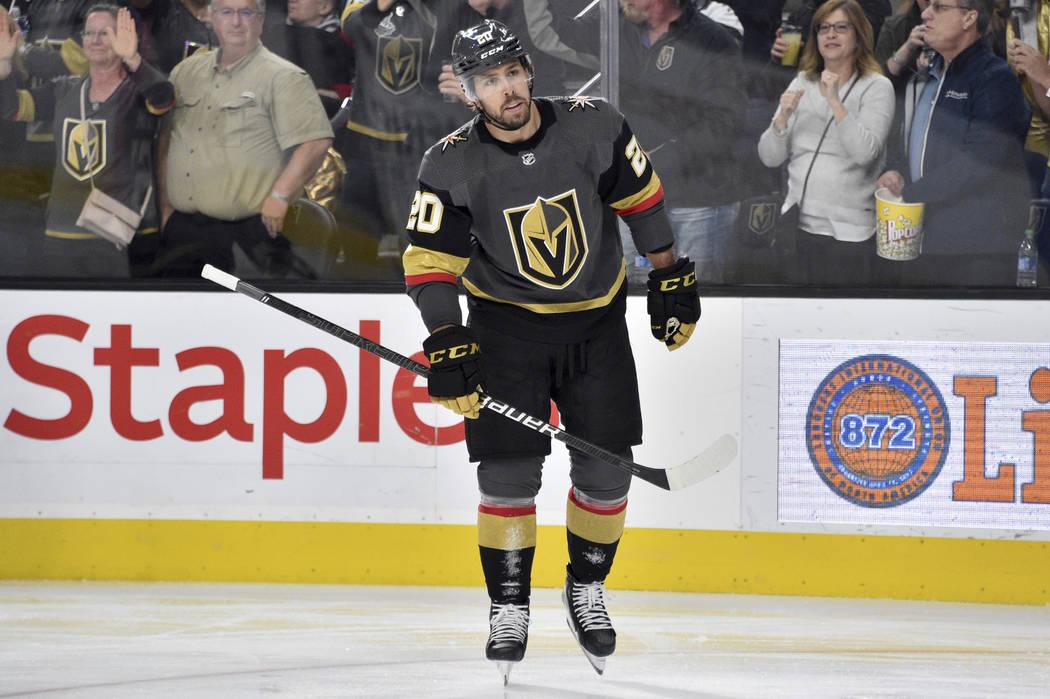 Vegas Golden Knights center Chandler Stephenson (20) skates against the Carolina Hurricanes dur ...