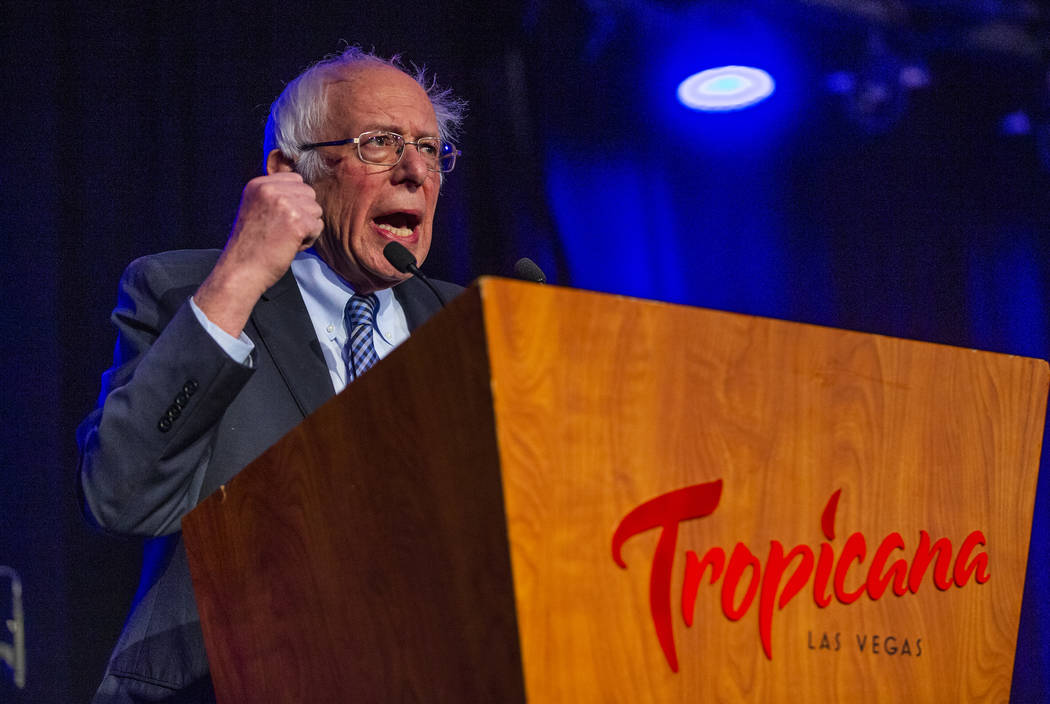 Sen. Bernie Sanders, I-Vt., hammers a point home during the Clark County Democrats Kick Off to ...