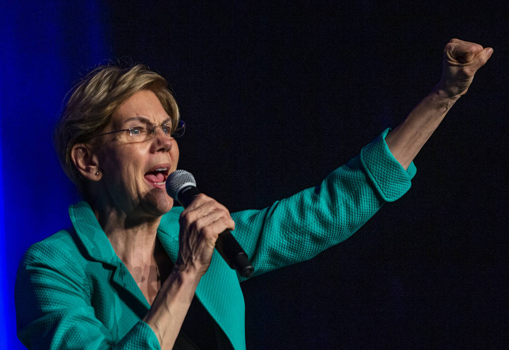 Sen. Elizabeth Warren, D-Mass., speaks on voting power during the Clark County Democrats Kick O ...