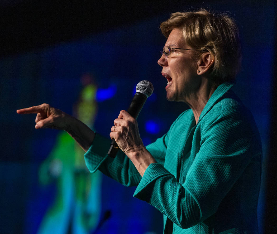 Sen. Elizabeth Warren, D-Mass., talks about her drive to win during the Clark County Democrats ...
