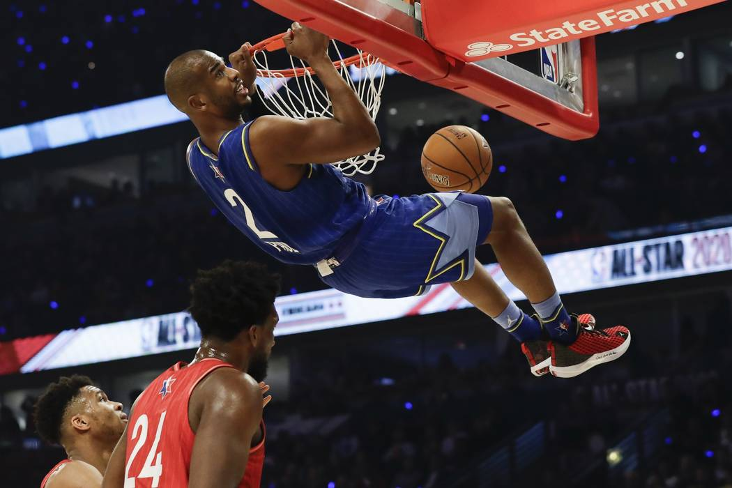 Chris Paul of the Oklahoma City Thunder dunks during the first half of the NBA All-Star basketb ...