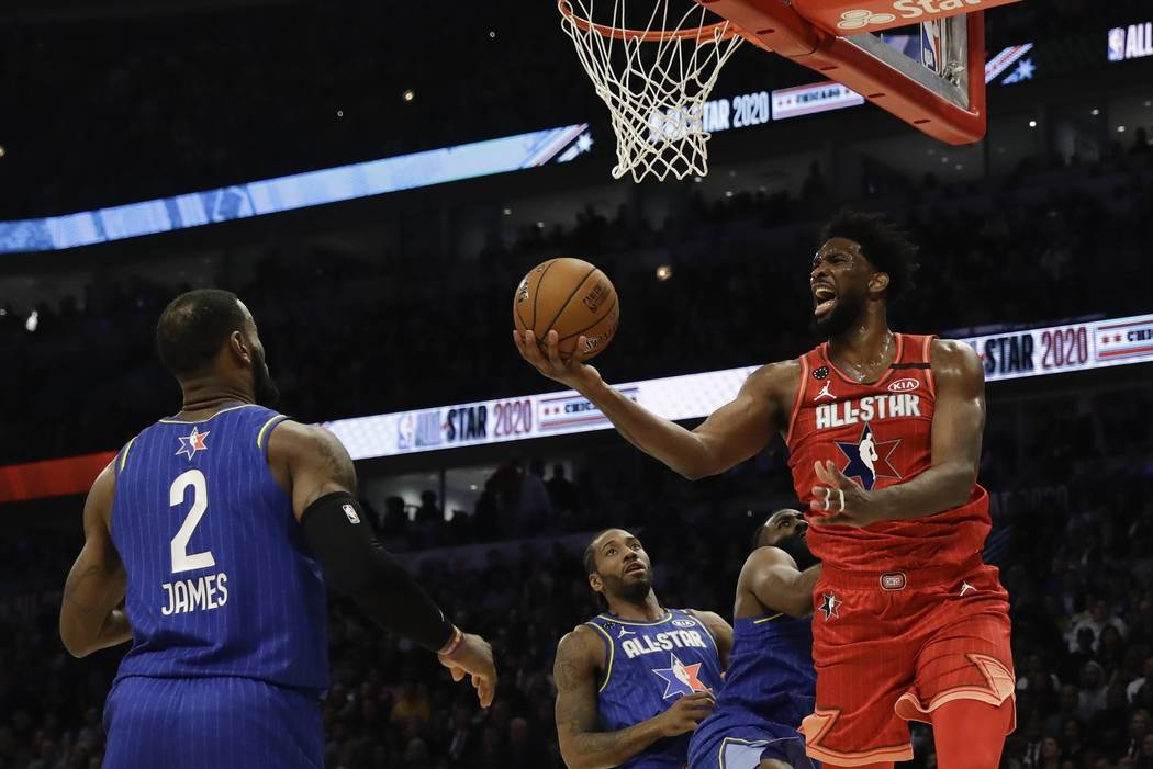 Joel Embiid of the Philadelphia 76ers shoots during the second half of the NBA All-Star basketb ...
