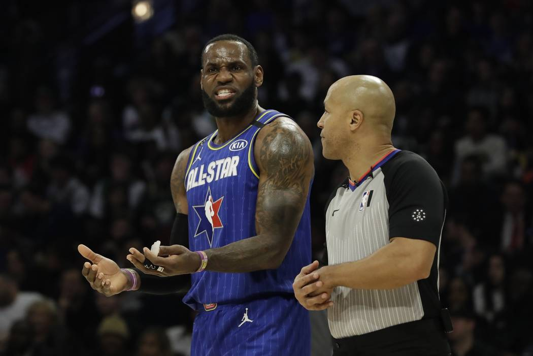 LeBron James of the Los Angeles Lakers argues a call during the second half of the NBA All-Star ...