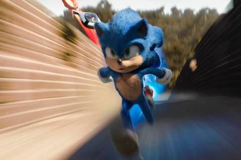 "Sonic, voiced by Ben Schwartz, stars in a scene from ""Sonic the Hedgehog ."" (Paramount Pictures ..."