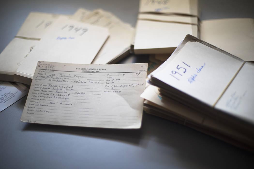 "Stacks of enrollment cards for Westside School on the desk of Brenda J. Williams, author of ""We ..."