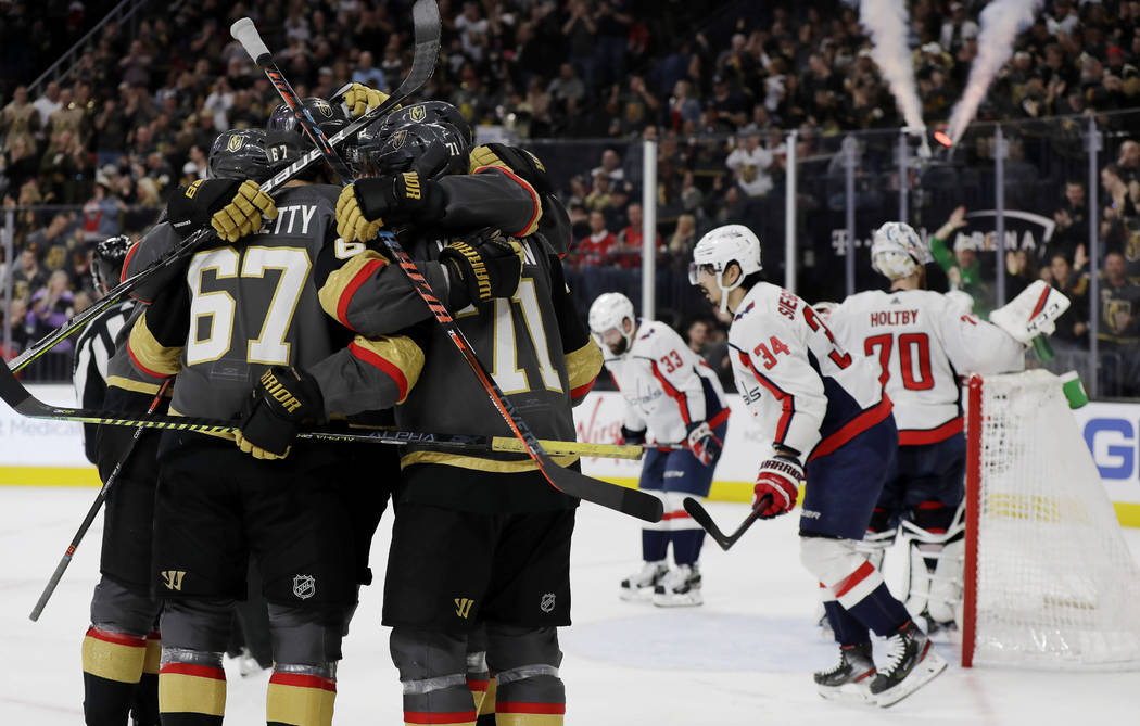 Vegas Golden Knights left wing Max Pacioretty (67) celebrates with teammates after scoring agai ...
