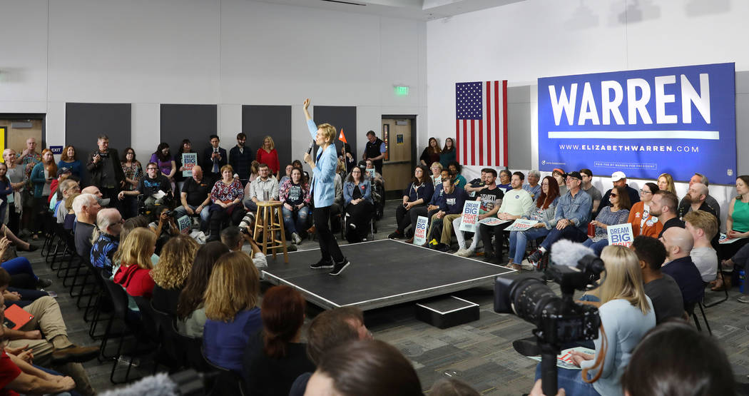 Sen. Elizabeth Warren speaks ahead of a town hall at College of Southern Nevada Henderson campu ...