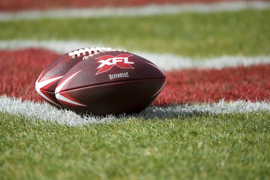 A detailed view of XFL DC Defenders footballs prior to the start of an XFL football game betwee ...