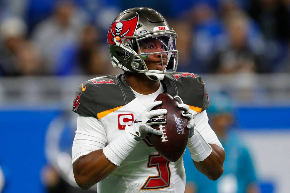 Tampa Bay Buccaneers quarterback Jameis Winston throws against the Detroit Lions during an NFL ...