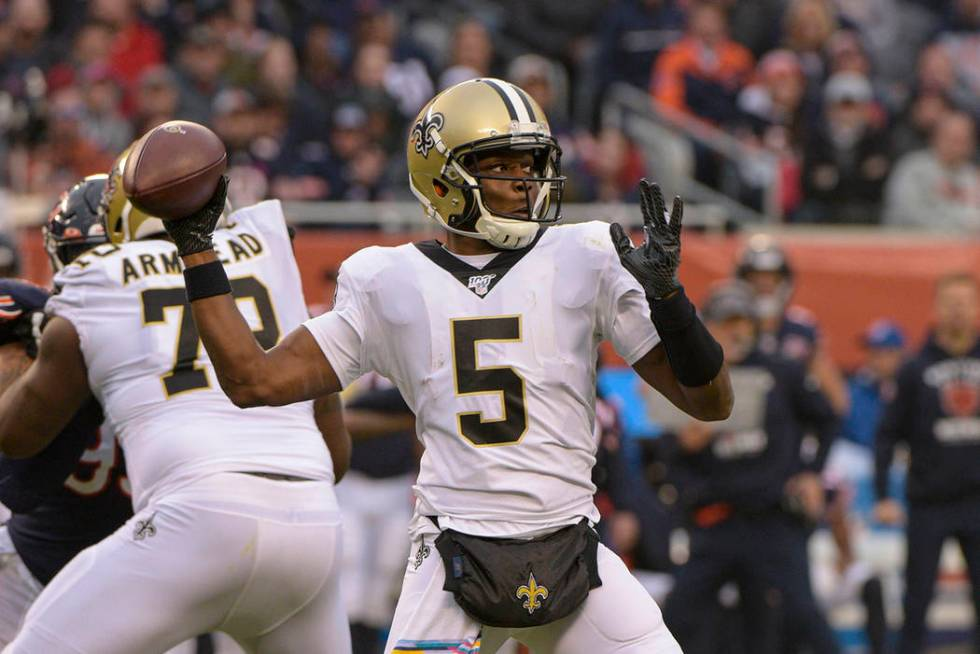 In this Sunday, Oct. 20, 2019 file photo, New Orleans Saints quarterback Teddy Bridgewater (5) ...