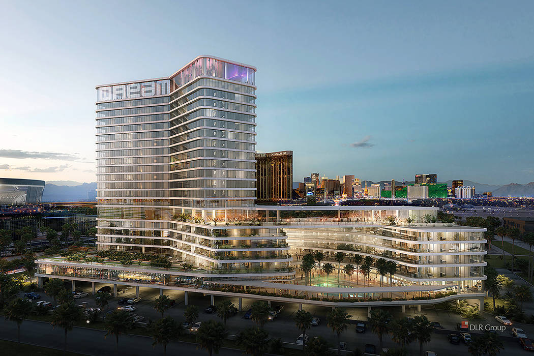 A rendering of a proposed luxury hotel on the south edge of the Las Vegas Strip. (DLR Group)