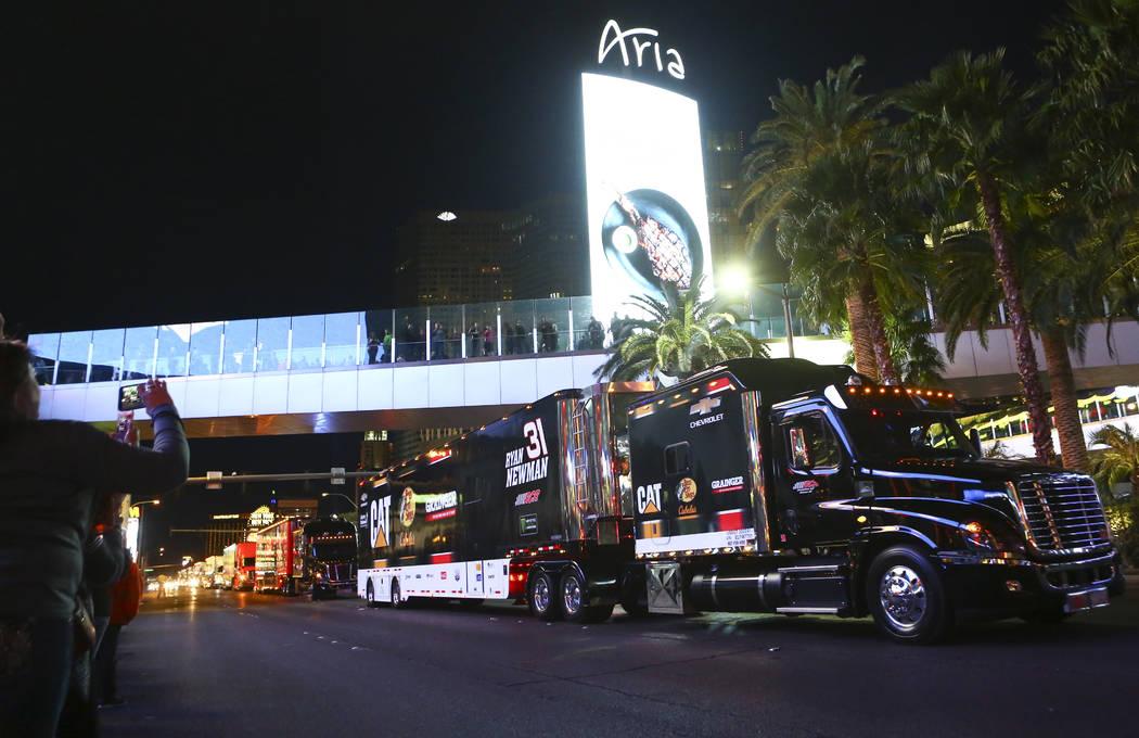 The hauler of Ryan Newman (31) parades down the Las Vegas Strip near Harmon Road ahead of the N ...