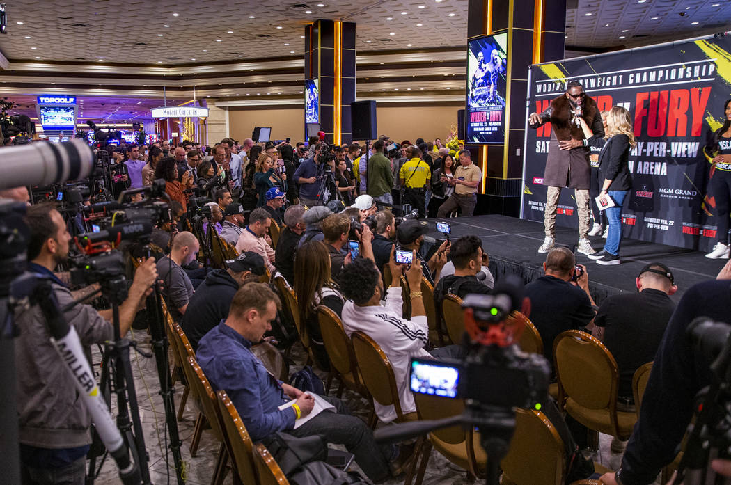 WBC heavyweight title fighter Deontay Wilder gives an interview before the press and fans durin ...