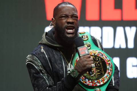 Heavyweight boxer Deontay Wilder during a press conference at the MGM Grand Garden Arena in Las ...