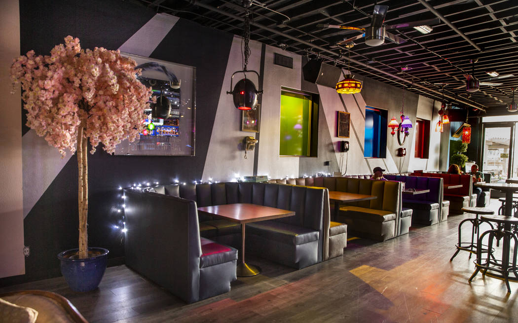 Some of the booths within the 18bin restaurant and bar on Monday, Jan. 20, 2020, in Las Vegas. ...