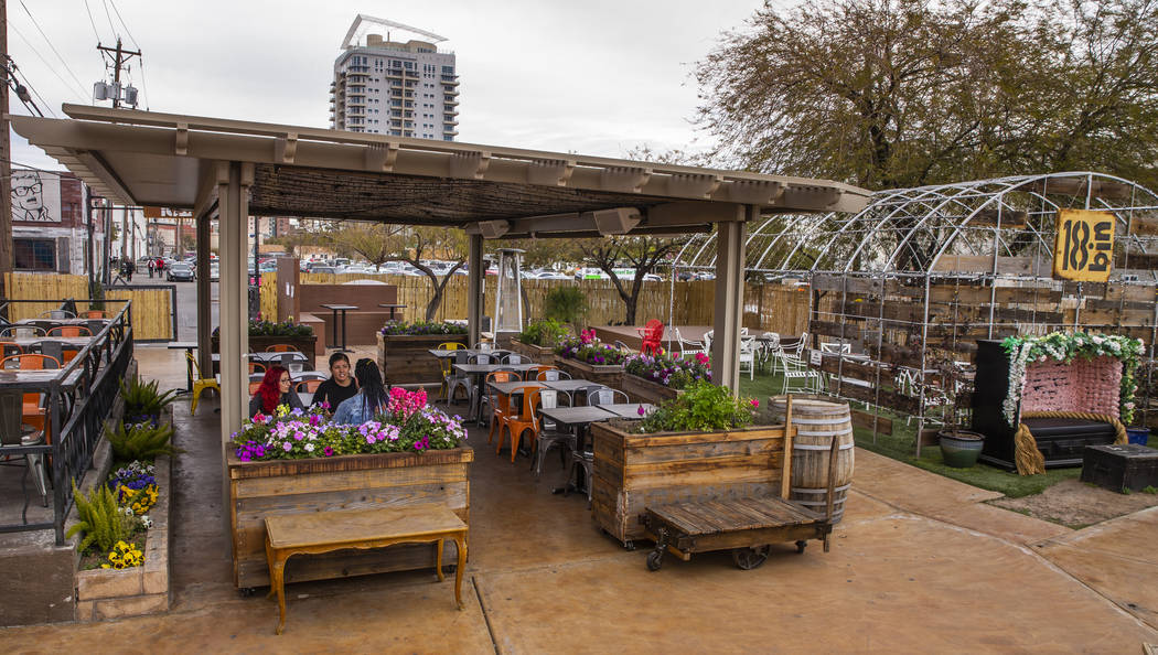 Courtyard dining area of the 18bin restaurant and bar on Monday, Jan. 20, 2020, in Las Vegas. ( ...