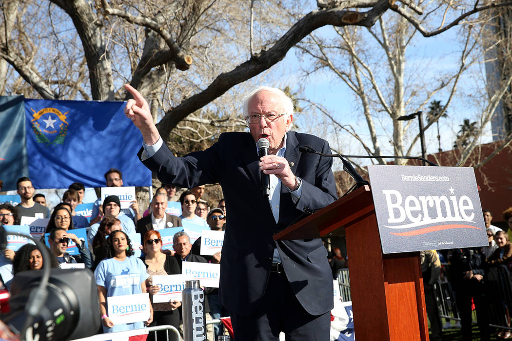 Vermont Sen. Bernie Sanders speaks during a rally at the UNLV Academic Mall in Las Vegas Tuesda ...