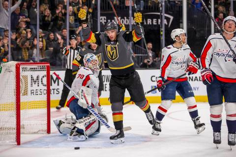 Vegas Golden Knights right wing Reilly Smith (19, center) celebrates his goal over Washington C ...