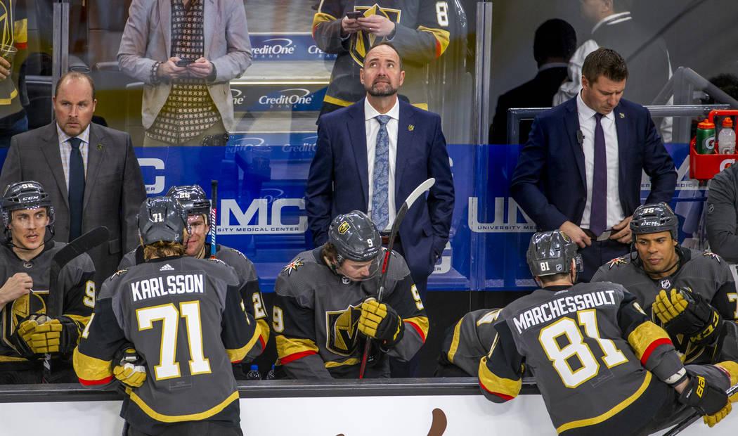 Vegas Golden Knights head coach Peter DeBoer looks up as his team readies for Washington Capita ...