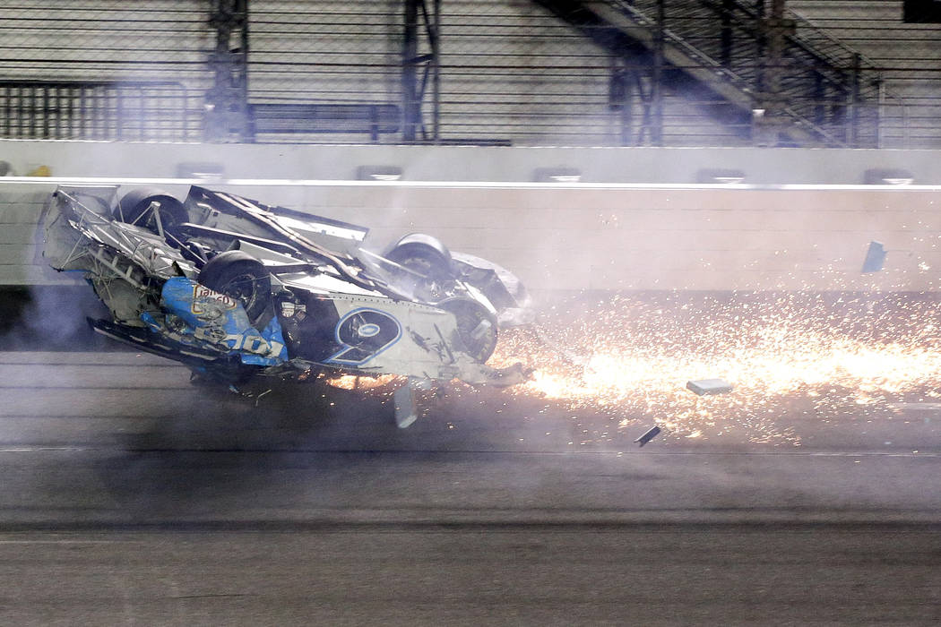 Ryan Newman slides past the finish line after he was involved in a crash on the final lap of th ...