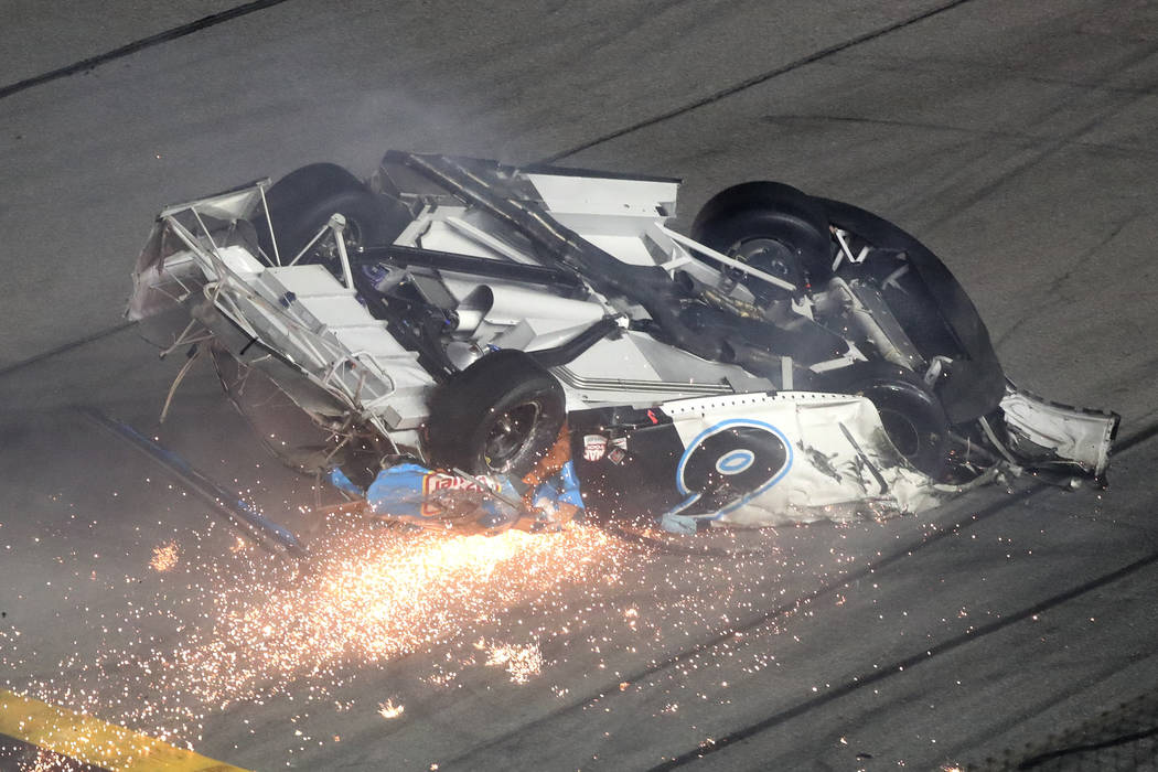 Ryan Newman slides down the track after he was involved in a crash on the final lap of the NASC ...