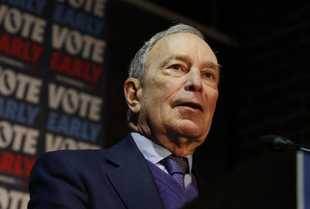 Democratic presidential candidate and former New York City Mayor Michael Bloomberg addresses su ...