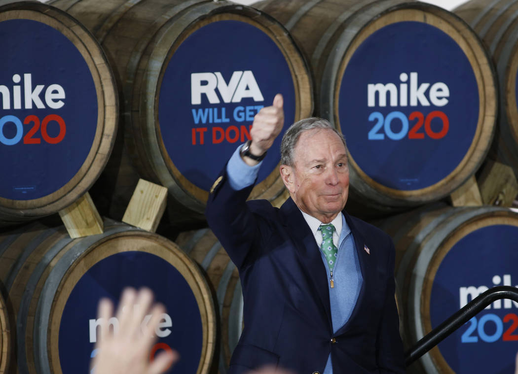 Democratic presidential candidate Mike Bloomberg gives his thumbs-up after speaking during a ca ...