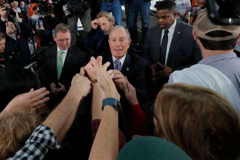 Democratic presidential candidate and former New York City Mayor Mike Bloomberg greets supporte ...