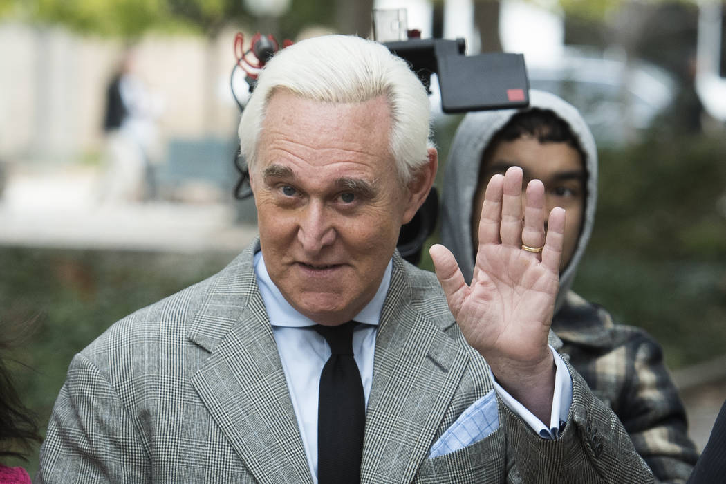 In a Nov. 7, 2019, file photo, Roger Stone arrives at Federal Court for his federal trial in Wa ...