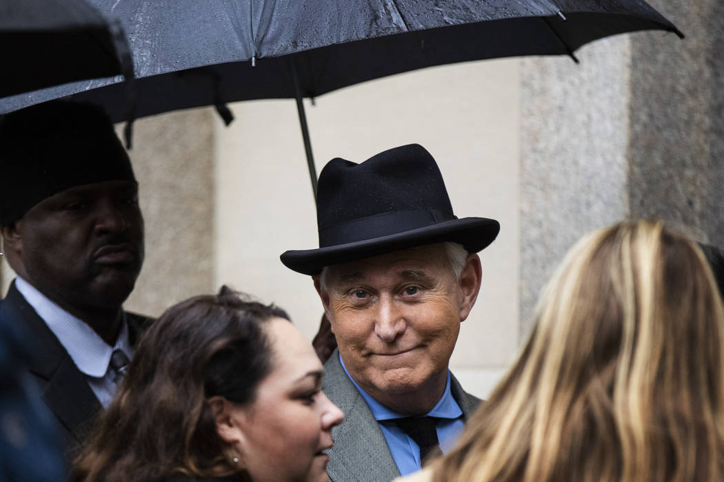 In a Nov. 12, 2019, file photo, Roger Stone, a longtime Republican provocateur and former confi ...