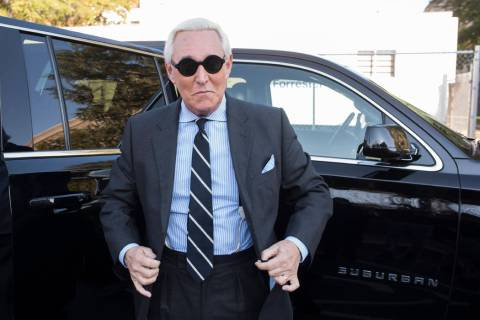 In a Nov. 6, 2019, file photo, Roger Stone arrives at Federal Court for the second day of jury ...