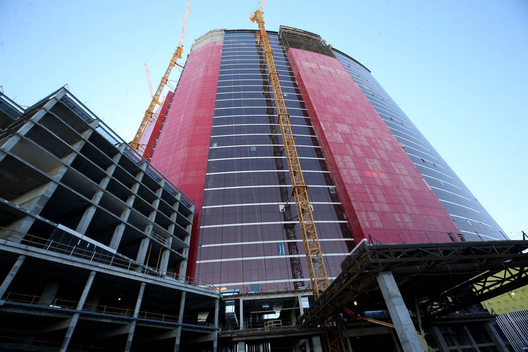 Construction continues on the Hilton west tower porte cochere at Resorts World Las Vegas on the ...