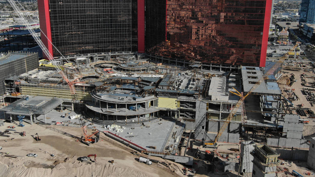 Aerial view of casino and pool area at Resorts World Las Vegas on the north Strip in Las Vegas ...