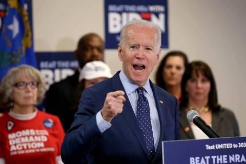 Former vice president and Democratic presidential candidate Joe Biden speaks at the Desert Bree ...