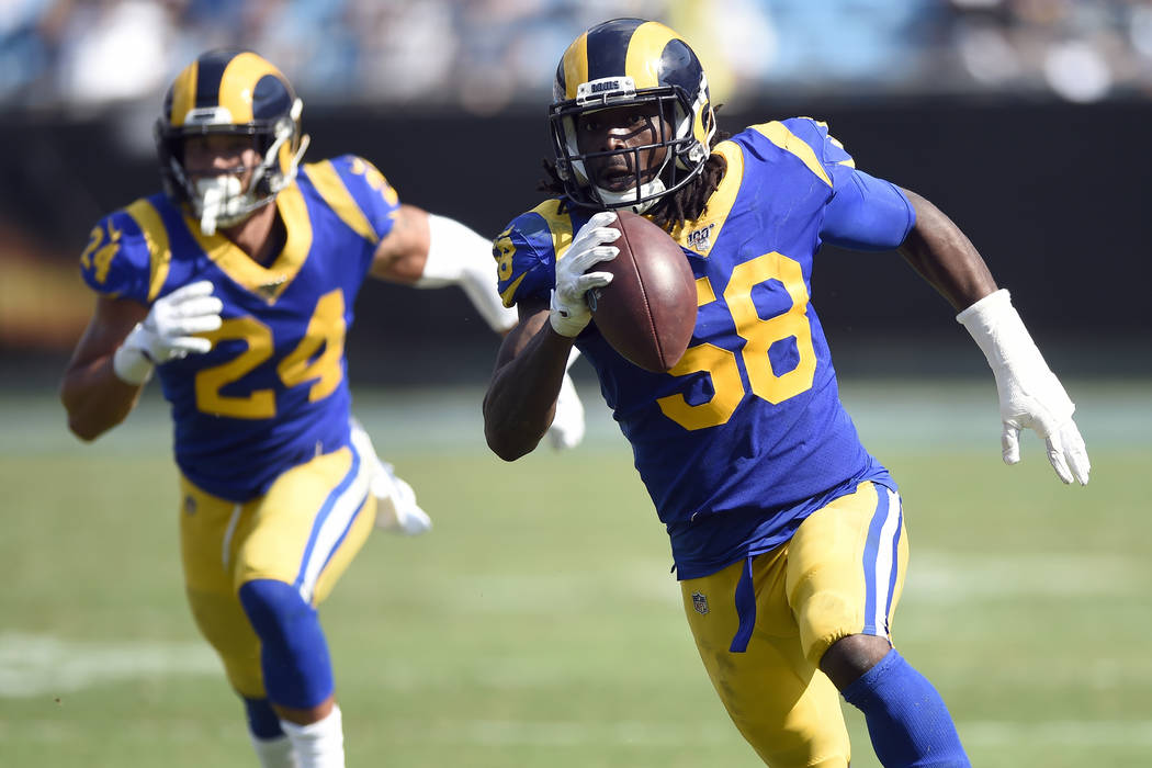 Los Angeles Rams inside linebacker Cory Littleton (58) runs the ball during the second half of ...