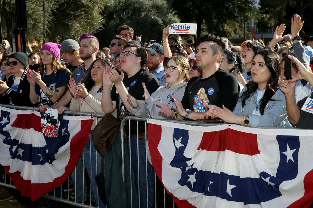 Supporters cheer during a Get Out the Early Vote Rally for Vermont Sen. Bernie Sanders at the U ...