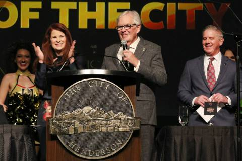 Henderson Mayor Debra March, left, applauds as Golden Knights owner Bill Foley speaks as team p ...